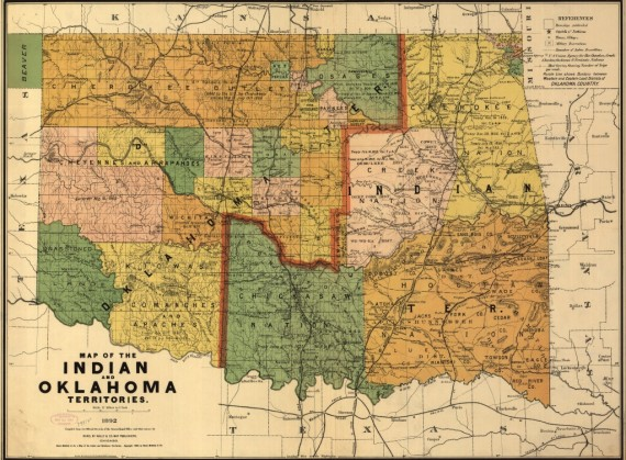 Map of the Indian and Oklahoma territories - 1892