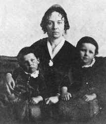 Elizabeth Cady Stanton with two of her children in 1848