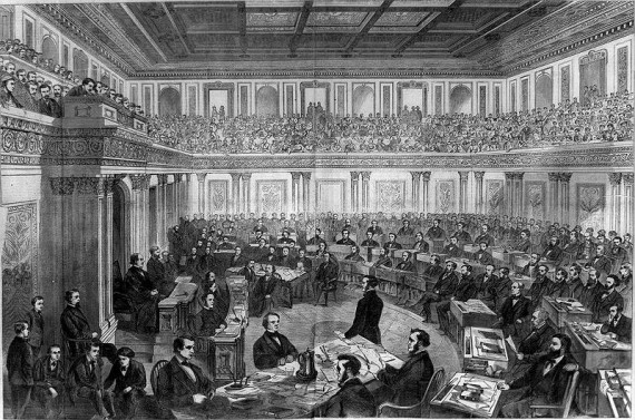 Theodore R. Davis's drawing of the Andrew Johnson Impeachment Trial