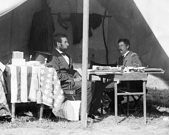 Abraham Lincoln and George B. McClellan in the general's tent at Antietam, Maryland
