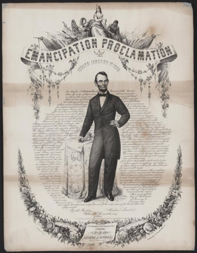 Emancipation proclamation issued January 1st, 1863