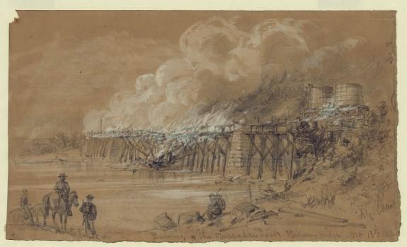 Burning the Rappahannock Railway bridge. Oct. 13th 1863